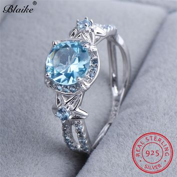 Blaike Round Aquamarine Star Flower Rings For Women Genuine S925 Sterling Silver Lake Blue Zircon Ring March Birthstone Jewelry