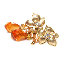 Mystic Orange Quartz Earrings Flower Earrings Quartz Jewelry Spring Finds Peach Pearl Earrings Flower Jewelry Bright Earrings Mystic Quartz