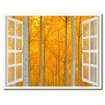 Autumn Yellow Trees Picture French Window Framed Canvas Print Home Decor Wall Art Collection