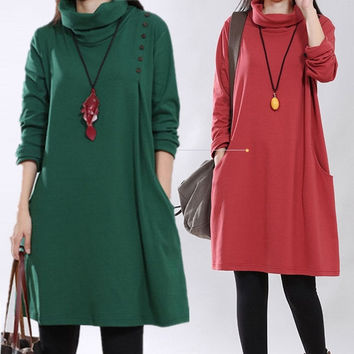 High-Necked Knitting Maternity Dress Slimming Autumn Clothes for Pregnant Women Plus Size Cotton Winter Clothing for Pregnancy = 1930105604