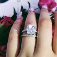 925 Sterling silver wedding Rings set 3 in 1 band ring for Women engagement bridal fashion jewelry finger moonso R4628