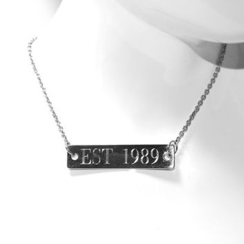 Bar Necklace, Personalized Jewelry, Engraved Name Stainless Steel Necklace, Silver Horizontal Bar Necklace