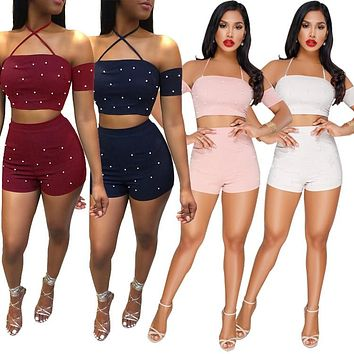 BKLD Casual Women Suits Sexy Backless Two Piece Sets 2018 Summer Ladies Short Sleeve Pearl Beading Halter Crop Tops And Shorts