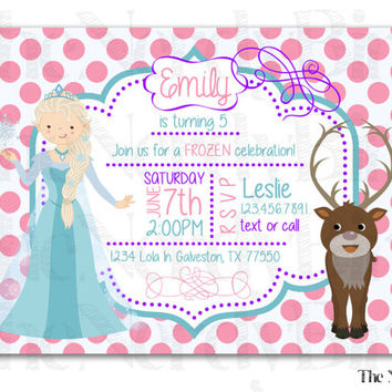 Frozen Princess Pink Polka Dot Design Printable Birthday Invitation