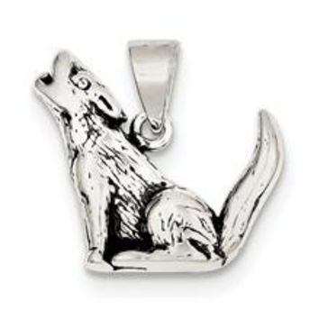 Antiqued Wolf Charm in Sterling Silver