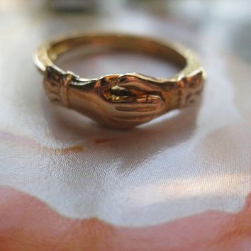 Antique 10K Fede Gimmel Ring
