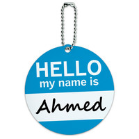 Ahmed Hello My Name Is Round ID Card Luggage Tag