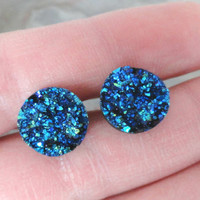 Iridescent Blue Druzy Post Earrings