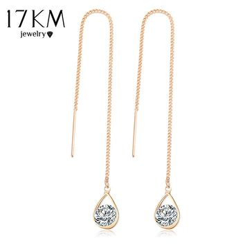 17KM Crystal Water Drop Earrings for Women Wedding Punk Star Moon Gold Color Long Tassel Dangle Bar Statement Jewelry