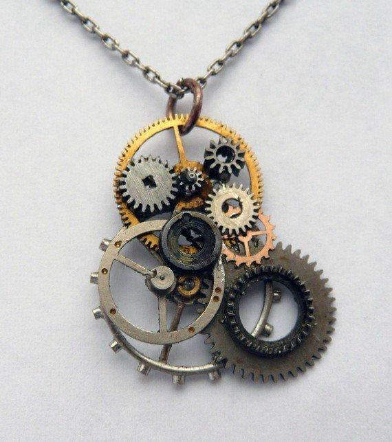 Gear Pendant  Seven by amechanicalmind on Etsy