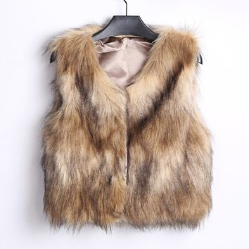 Female Winter vest Elegant waistcoat for Women Girls Warm Faux Fur Sleeveless Vest Coat V-Collar Waistcoat Jacket Outwear#2