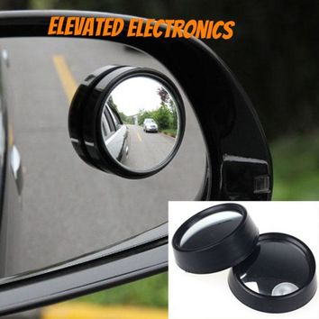 2 Pcs Round Stick-On Convex Rearview Blind Spot Mirror