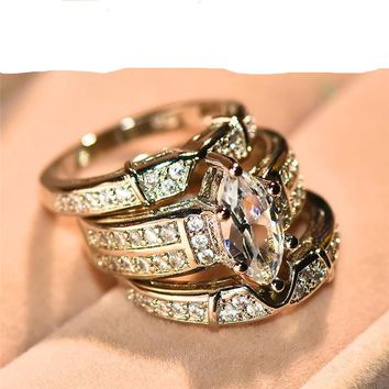 3pcs/Set Luxury Bridal Marquise Stone White CZ Ring