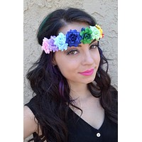 Rainbow Rose Headband #C1011