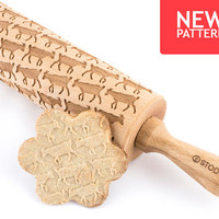 Goats - Embossed, engraved rolling pin for cookies