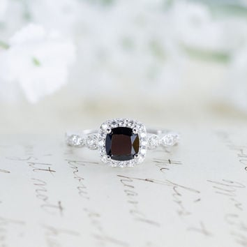 Black Halo Engagement Ring - Black Ring - Halo Ring - Wedding Ring - Promise Ring - Cushion Cut - Vintage Style - Art Deco - Sterling Silver