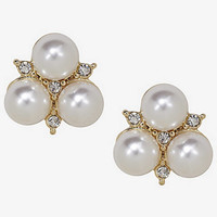 TRIPLE PEARL AND PAVE STUD EARRINGS from EXPRESS