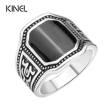 Silver Size 7-12 Fashion Enamel Men Jewelry Big Size Black Finger Ring for Man 2016 Aneis De Punk