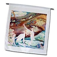 3dRose fl_62049_1 Mermaids and Wooden Ship Garden Flag, 12 by 18-Inch