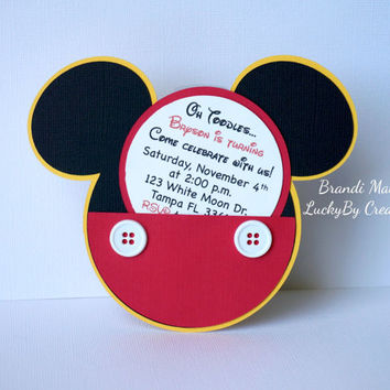 Mickey Mouse Invitations, Set of 8 Pocket Invitations, Birthday, One Year, Birthday Invite, Mickey Mouse, Clubhouse!