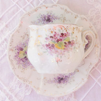 Vintage Cottage Chic Petite Teacup and Saucer, Victorian, Demitasse