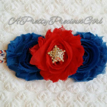 New England Patriots Infant Girls headband, Baby headband, Football, Super Bowl headband, Blue and Red headband, Patriots headband, Pats
