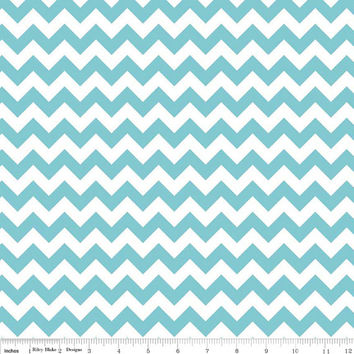 Zig Zag Blue and White Chevron Cotton Fabric, Quilting, 1 Yard, more yardage available
