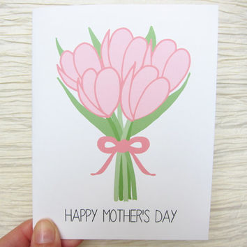 Mother's Day card. Tulips. Happy Mother's Day.