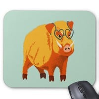 Cute Boar Pig With Heart Shaped Glasses Mouse Pad