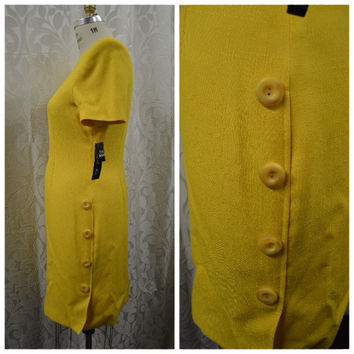 NEW VINTAGE, 90s, Kasper for A.S.L. Size 14, Yellow Dress.