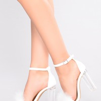 Lianne Feather Heel - White