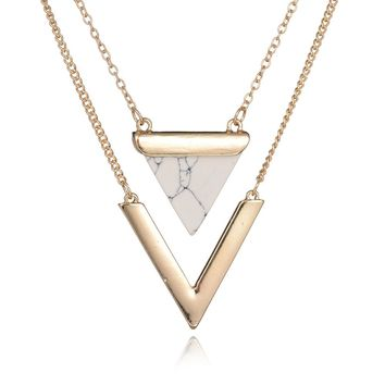 Multilayer Artificial Marble Stone Triangle Necklaces