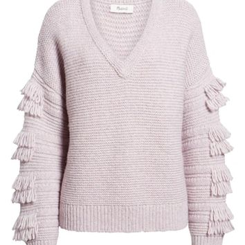 Madewell Fringe Sleeve Pullover Sweater | Nordstrom