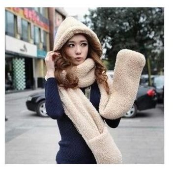 Pure color cartoon scarf hat, hat, gloves and hat three men and women are thickened in autumn and winter