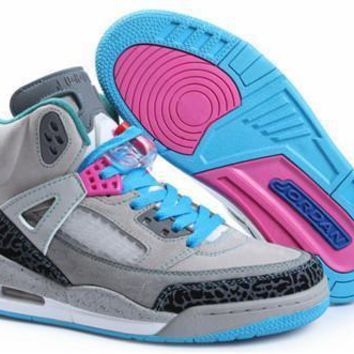 Hot Nike Air Jordan 3.5 Spizike Suede Women Shoes Grey Blue