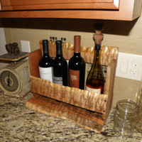 Figured live edge maple wine rack rustic cabin beach house bottle decor kitchen display storage holder with country home feel