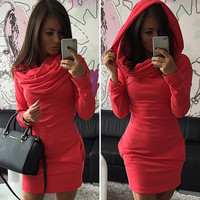 Long Sleeves Bodycon Hooded Short Sweater Activewear