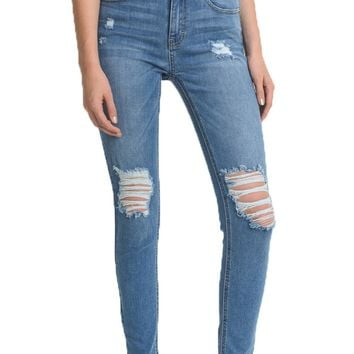 Just USA High Rise Destructed Skinny Jeans
