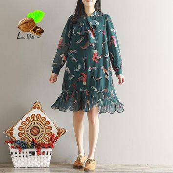 2018 Spring long-sleeve loose bow chiffon print fish one-piece dresses autumn vintage one-piece sweet Bohemian casual dress