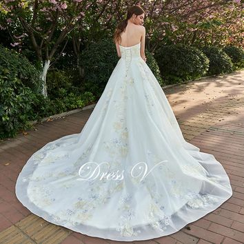Dressv lace up ivory appliques wedding dress sweetheart church outdoor bridal gown elegant a line chapel train wedding dresses
