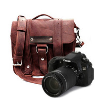 Safari Camera Bag Burgundy Thick Full Grain by CopperRiverBags