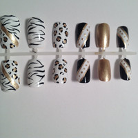 White Zebra, Gold Cheetah, Black, White, Dots,  Gold, False, Artificial, Acrylic