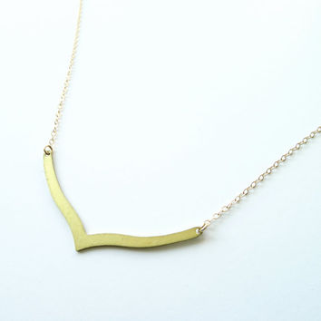 Minimal Necklace, Gold Necklace, Chevron Necklace, Minimal Jewelry, Landon Lacey, Layer Necklace, Gold Jewelry, Gold Fill, Minimalist