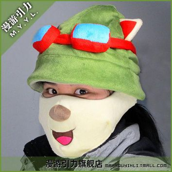 DCCKWQA LOL  Teemo Cosplay Cute Hat + Mask