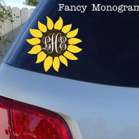 "Sunflower Monogram Car Window Decal | Initials Car Window Decal 6"" x 6"""