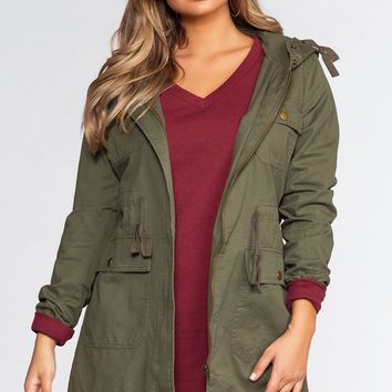 Take A Little Ride Cargo Jacket - Olive