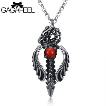 Domineering Punk Necklace Male 316L Stainless Steel Men Jewelry Dragon Sword Pendant Necklace Link Chain Collier