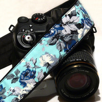 Roses Camera Strap. dSLR Camera Strap. Blue Camera Strap. Original Camera Equipment.