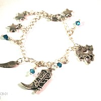 Western Cowboy Boots and Horse Charm Bracelet with Swarovski Crystal Drops