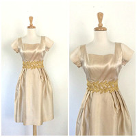 Vintage Satin Party Dress - champagne dress - short wedding dress - 60s dress - fit and flare - cocktail dress - Small